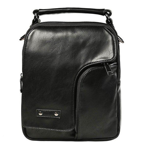 Casual Stitching and Zip Design Men's Messenger Bag - BLACK