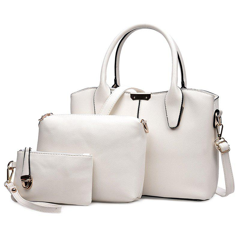 Concise Solid Color and Metal Design Women's Tote Bag - OFF WHITE