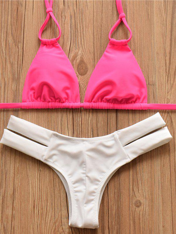 Sweet Women's Halter Color Block Hollow Out Bikini Set - ROSE MADDER S
