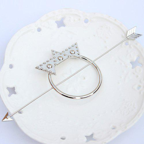 Retro Solid Color Crown Arrow Hairpin For Women - SILVER