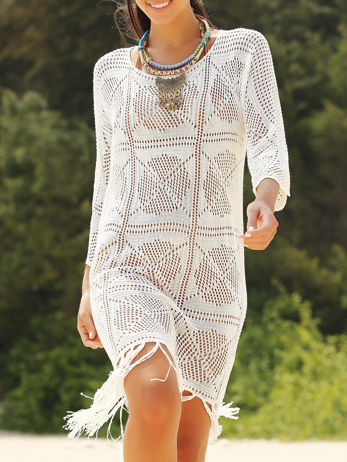 Stylish See-Through 3/4 Sleeve Round Neck Women's Blouse Dress - WHITE ONE SIZE(FIT SIZE XS TO M)