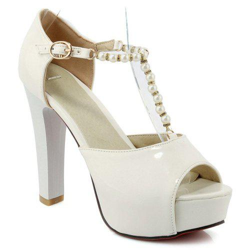 Trendy Peep Toe and Beading Design Women's Sandals - WHITE 39