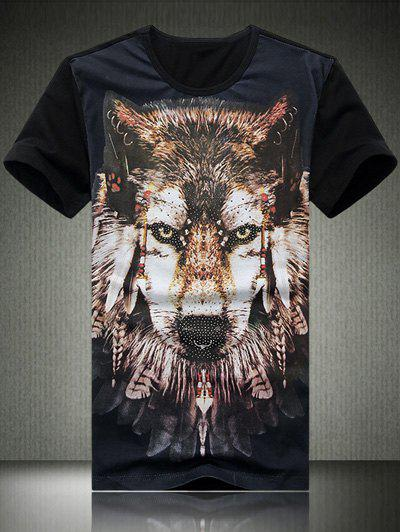 Round Neck Plus Size 3D Wolf Print Short Sleeve Men's T-Shirt - BLACK 2XL