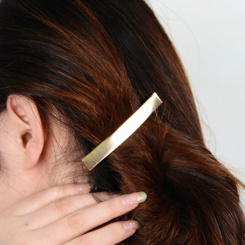 Simple Solid Color Rectangle Hairpin For Women - GOLDEN