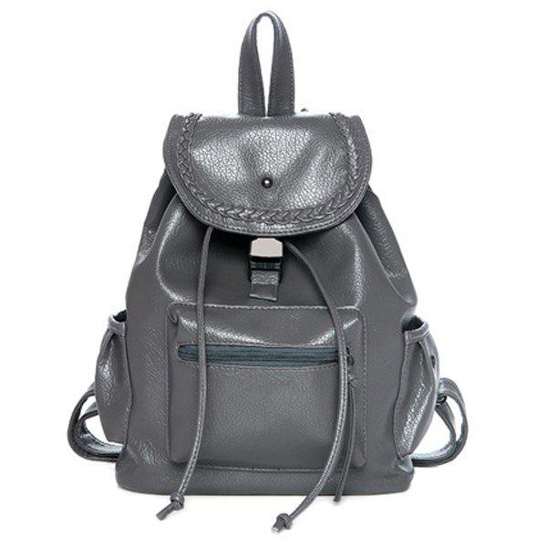 Casual Weaving and PU Leather Design Women's Satchel - GRAY