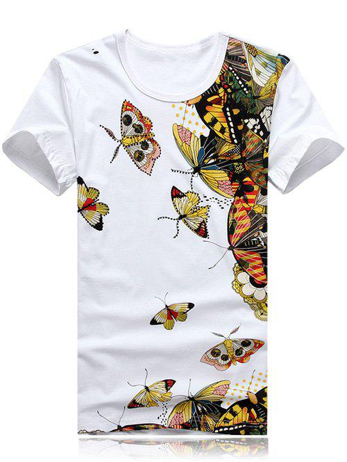 Round Neck Plus Size 3D Butterfly Print Short Sleeve Men's T-Shirt - WHITE XL