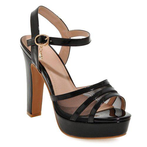 Stylish Chunky Heel and Gauze Design Women's Sandals - BLACK 35