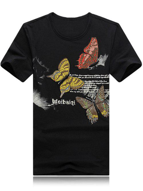 Round Neck Plus Size 3D Butterfly and Letter Print Short Sleeve Men's T-Shirt - BLACK 2XL