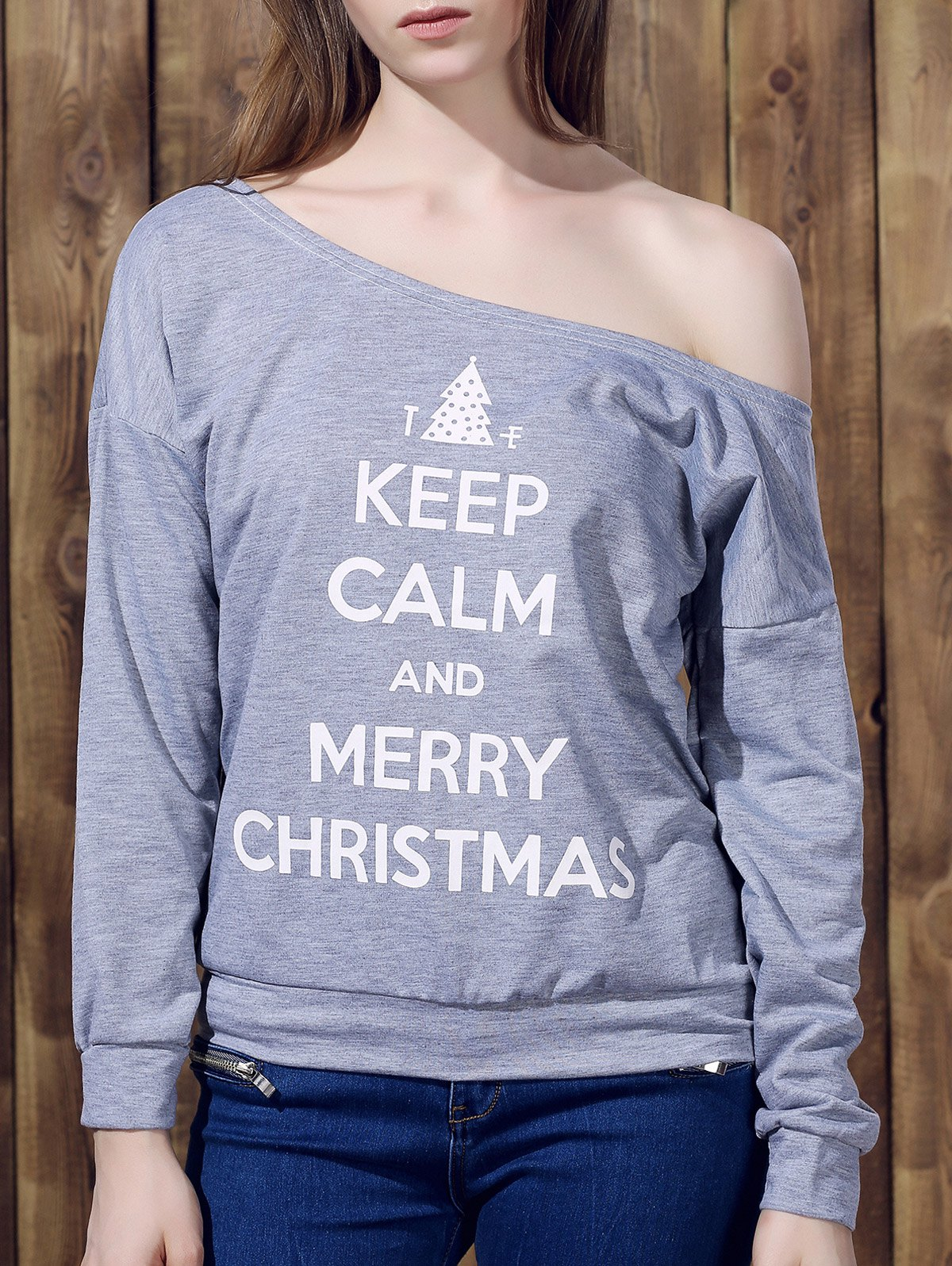Chic Long Sleeve One-Shoulder Letter Print Women's Christmas Sweatshirt