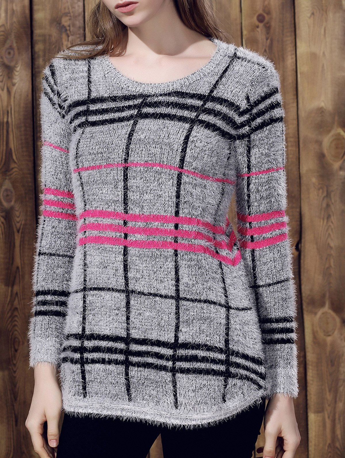 Trendy Irregular Plaid Printed Pullover Mohair Sweater For Women - GRAY ONE SIZE(FIT SIZE XS TO M)