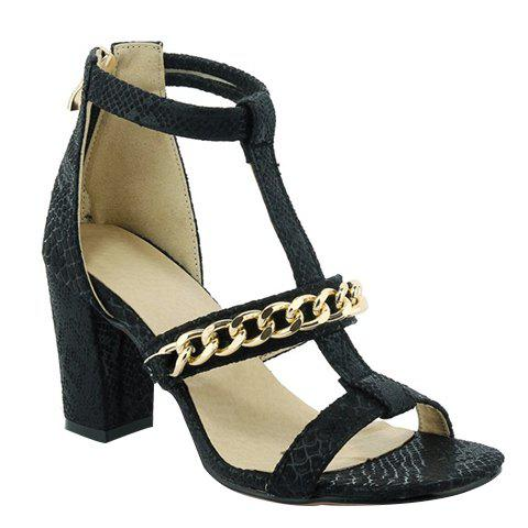 Graceful Chain and Chunky Heel Design Women's Sandals - BLACK 39