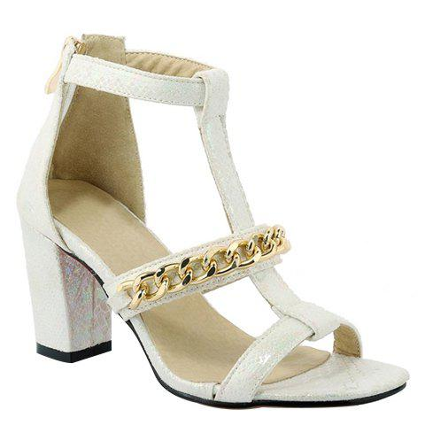 Graceful Chain and Chunky Heel Design Women's Sandals