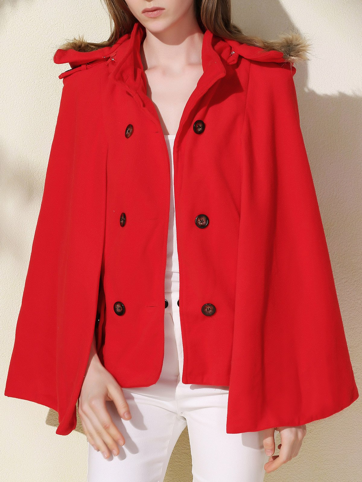 Fashionable Faux Fur Hooded Wool Coat For Women - RED L