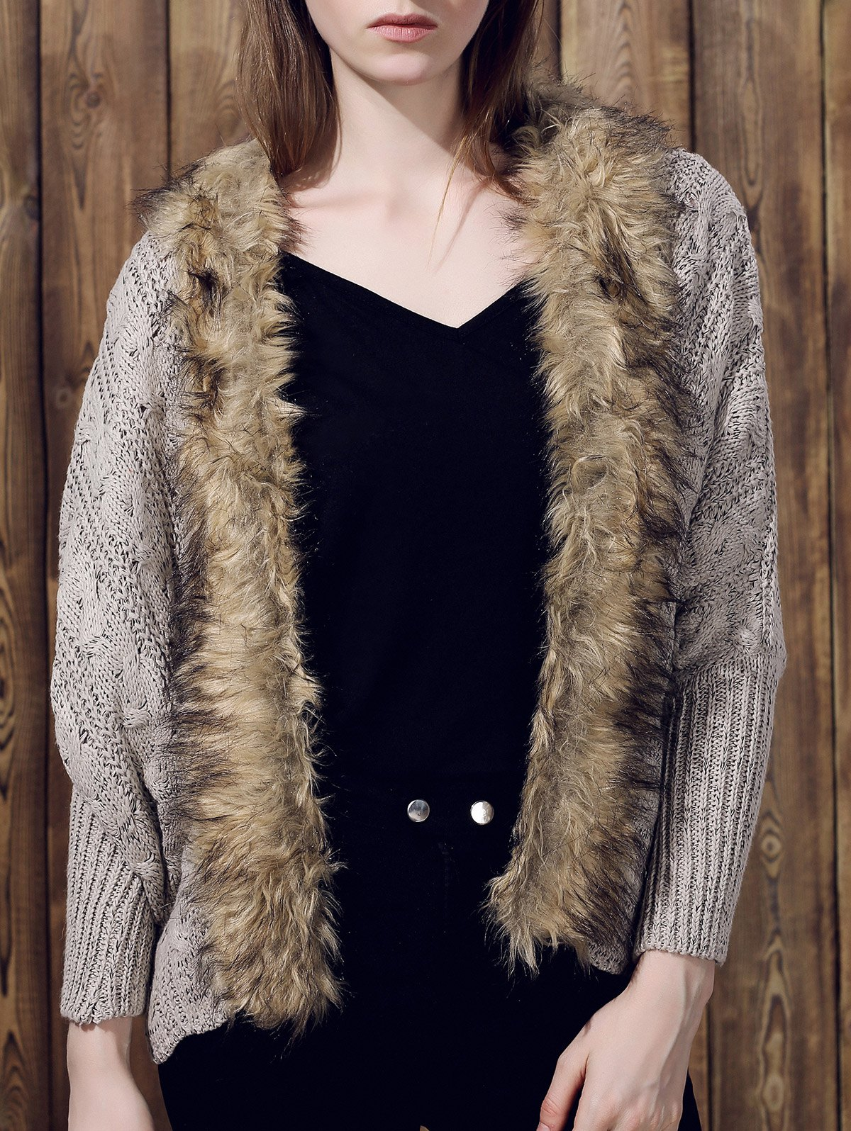 Charming Long Sleeve Faux Fur Spliced Knitted Thick Cardigan For Women - KHAKI ONE SIZE(FIT SIZE XS TO M)