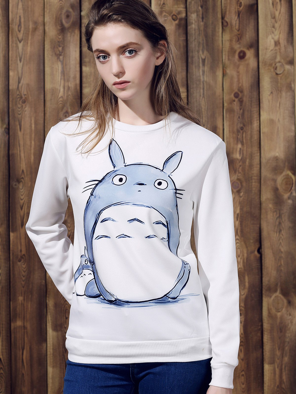 Round Neck Cartoon Pattern Long Sleeve Sweatshirt For Women - WHITE ONE SIZE(FIT SIZE XS TO M)