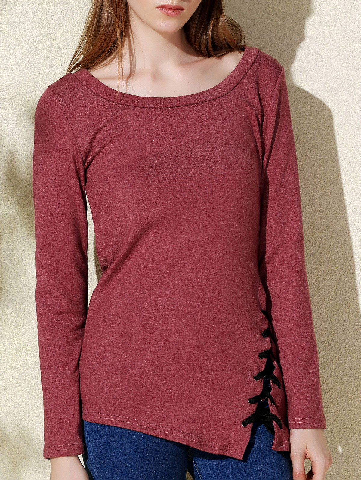 Stylish solid color scoop neck long sleeve t shirt for for Scoop neck long sleeve shirt