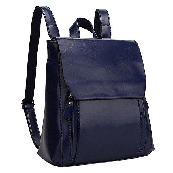 Preppy Solid Color and PU Leather Design Women's Satchel - BLUE