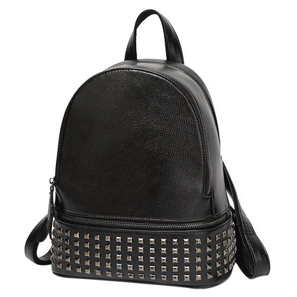 Trendy Rivet and PU Leather Design Women's Satchel - BLACK