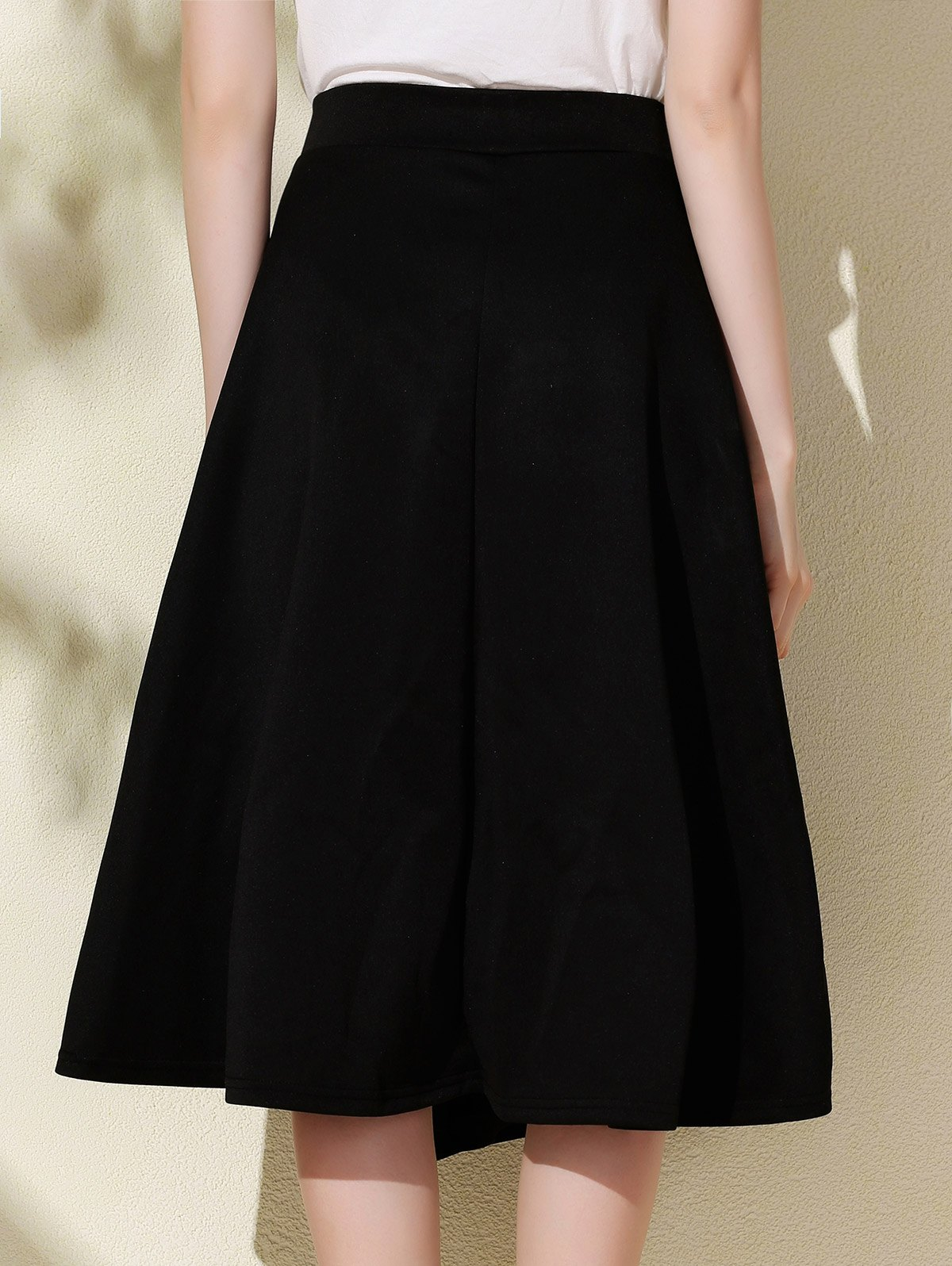 Stylish High-Waisted A-Line Solid Color Women's Midi Skirt - BLACK M