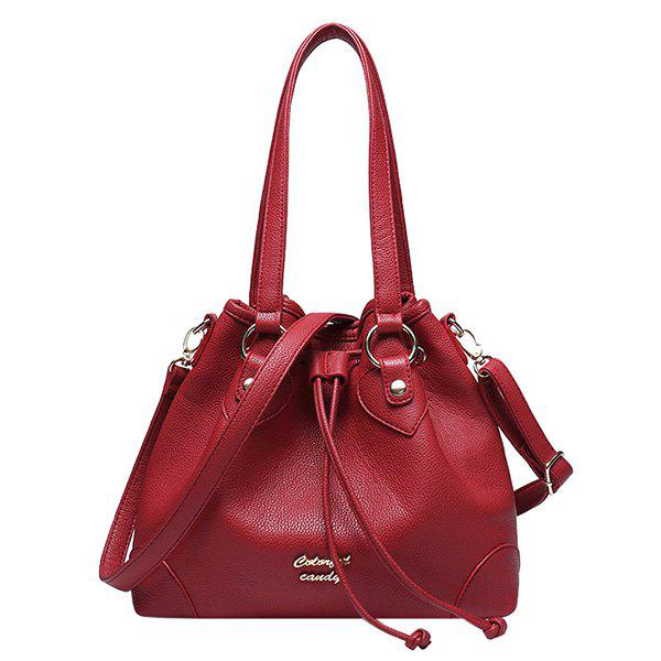 Stylish Letter and Solid Color Design Women's Shoulder Bag - WINE RED