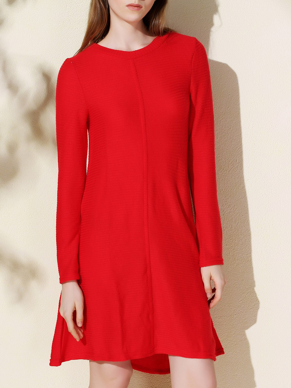 Round Collar Long Sleeve Knitted Dress - RED XL
