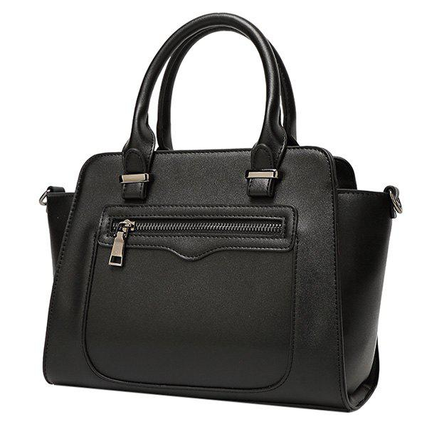 Fashion Zip and Solid Color Design Women's Tote Bag - BLACK