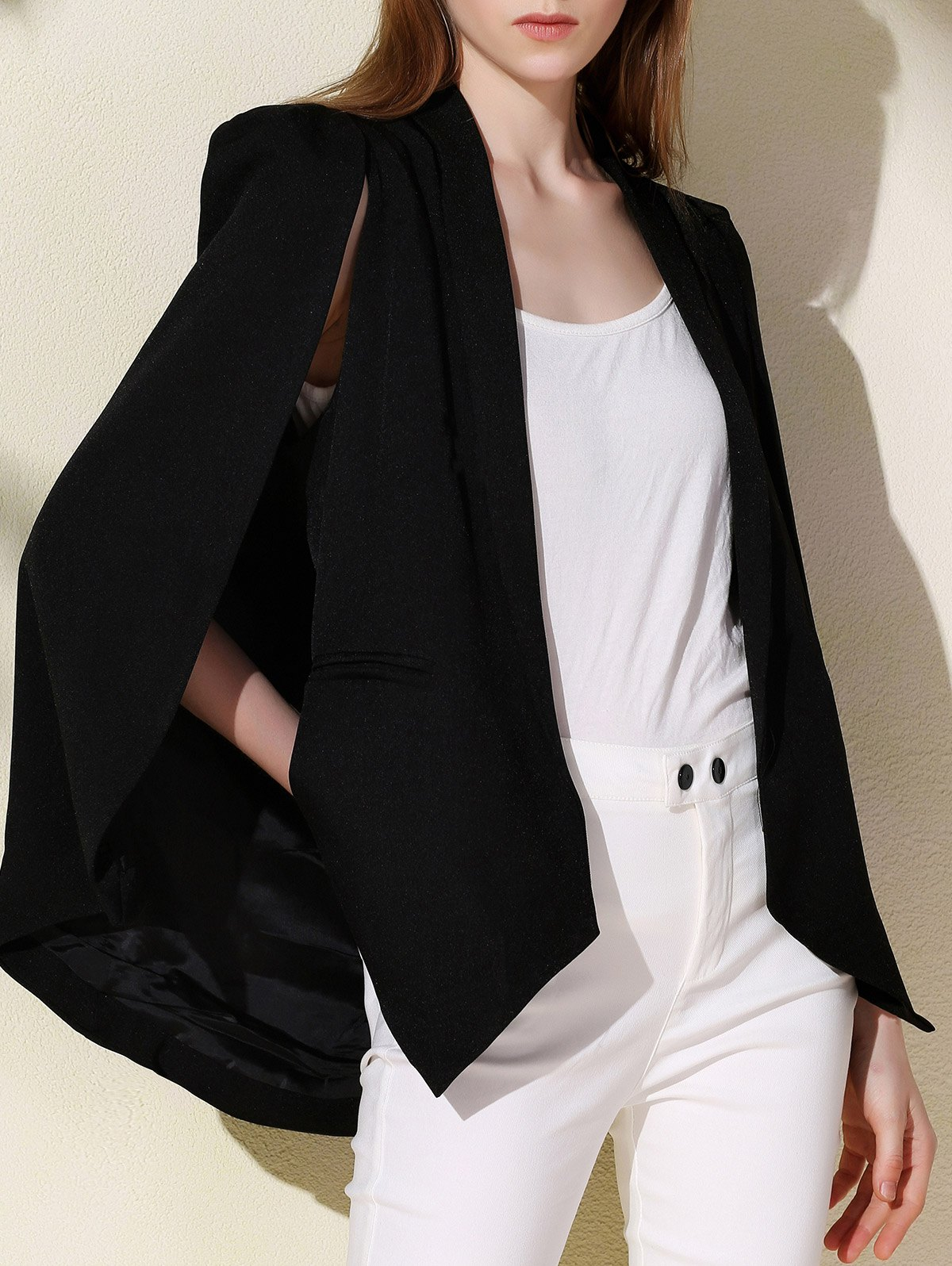 Fashionable Long Sleeve Shawl Collar Solid Color Women's Cape Blazer - BLACK S