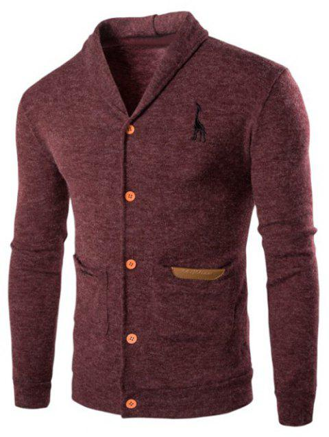 Turndown Collar Long Sleeve Button Up Cardigan - WINE RED XL