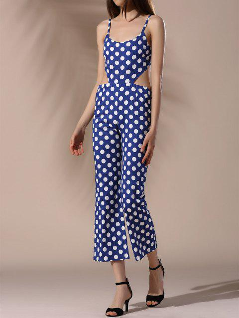 Trendy Spaghetti Strap Cut Out Polka Dot Women's Jumpsuit - DEEP BLUE S