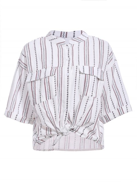 Elegant Women's Stand-Up Collar Striped Design Embroidered Print Shirt - WHITE ONE SIZE(FIT SIZE XS TO M)