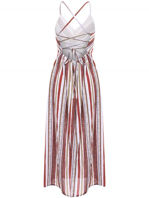 Bohemian Style Women's Sleeveless Open Back Striped Dress - COLORMIX ONE SIZE(FIT SIZE XS TO M)