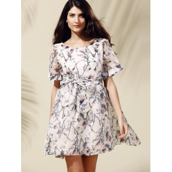Sweet Women's Short Sleeve Scoop Neck Floral Print Self-Tie Dress - OFF WHITE L