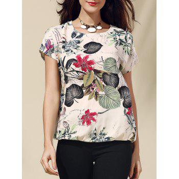 Retro Style Scoop Neck Short Sleeve Floral Print Loose Women's T-Shirt