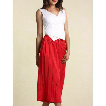Buy Chic Asymmetrical White Tank Top Pleated Wide Leg Pants Twinset Women RED