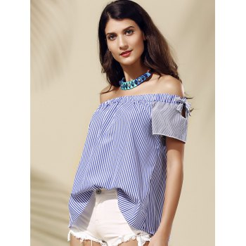 Stylish Striped Off-The-Shoulder Cut Out Women's Blouse - BLUE BLUE