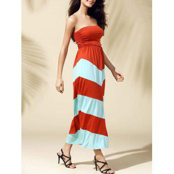 Long Strapless Stripe Dress