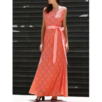 Alluring Sleeveless Scoop Neck Self Tie Belt Lace Women's Maxi Dress
