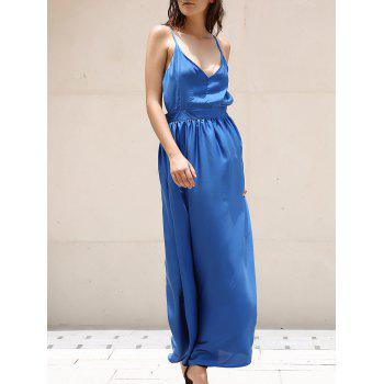 Elegant Women's V-Neck Spaghetti Strap Backless Maxi Dress