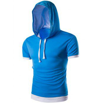 Hooded Flase Twinset Short Color Block Splicing Sleeve Men's T-Shirt