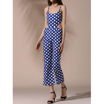Trendy Spaghetti Strap Cut Out Polka Dot Women's Jumpsuit
