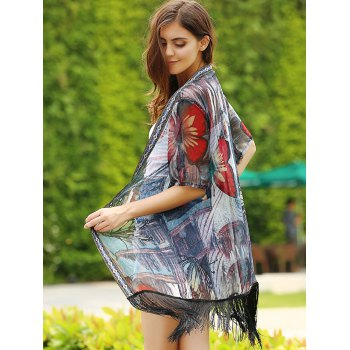 Butterfly Print Fringed Open Front Kimono - RED ONE SIZE(FIT SIZE XS TO M)