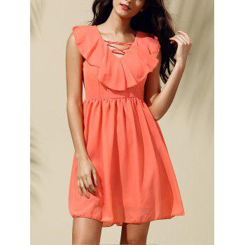 V Neck Sleeveless Flounce Chiffon Dress For Women