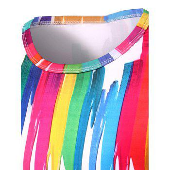 T-shirt 3D Colorful Imprimer Vertical Splash-Ink col rond manches courtes hommes s ' - multicolorcolore XL