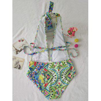 Halter Backless One Piece Swimsuit - COLORMIX S
