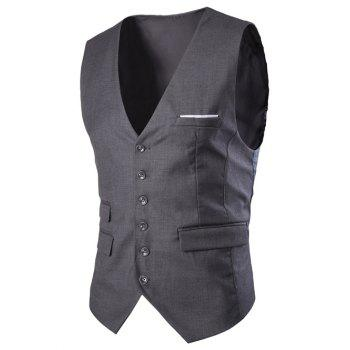 Slim Fit Single Breasted Men's Solid Color Waistcoat - DEEP GRAY XL