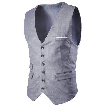 Slim Fit Single Breasted Men's Solid Color Waistcoat