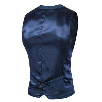 Slimming Single Breasted Men's Solid Color Waistcoat - NAVY BLUE L