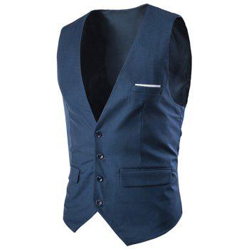 Slimming Single Breasted Men's Solid Color Waistcoat