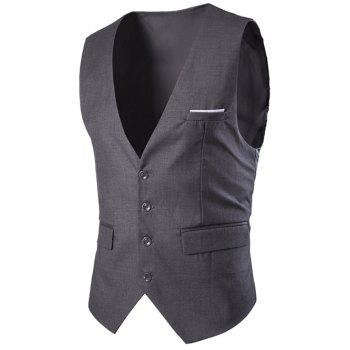 Slimming Single Breasted Men's Solid Color Waistcoat - DEEP GRAY XL