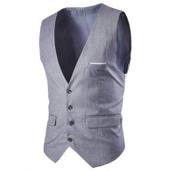 Slimming Single Breasted Men's Solid Color Waistcoat - LIGHT GRAY LIGHT GRAY